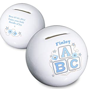 Personalised Blue ABC Ceramic Money Box - Add name & message