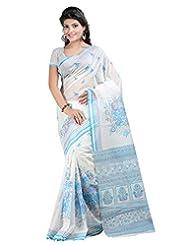 Lookslady Printed White & Turquoise Cotton Saree