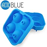 "BEST Ice Mold Tray -5 Star Rated- Lifetime Guarantee- Makes Cool 2"" Ice Balls - Food Grade Silicone"