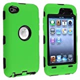 Black Hard / Green Skin Hybrid Case Cover compatible with Apple iPod Touch 4G, 4th Generation, 4th Gen 8GB / 32GB / 64GB