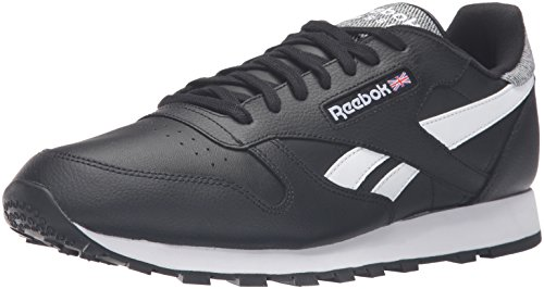 Reebok Men's Classic Leather Pop Fashion Sneaker, Black/White, 10.5 M US (Reebok Classic Mens Sneakers compare prices)