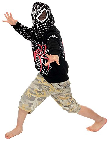 AshopZ Kids Black Full Face Spider-Man Costume W/ ZipUp Hoodie