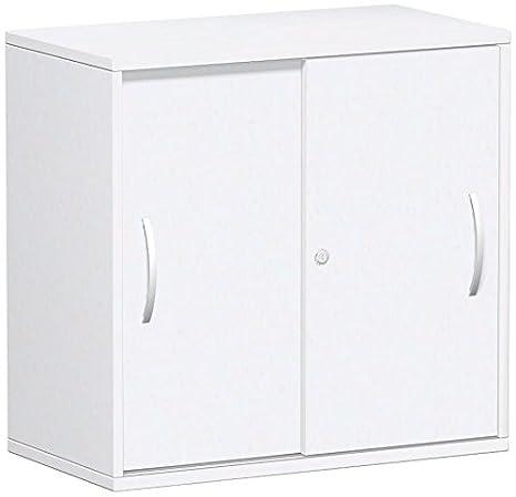 Porta scorrevole armadio ufficio, ufficio, fondo in legno, esterno 25mm, con piedini, chiudibile a chiave, 800x 425x 798, bianco/bianco, Gera mobili