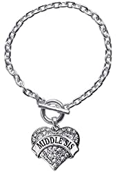 Inspired Silver Middle Sis Pave Heart Toggle Charm Bracelet With Clear Rhinestones