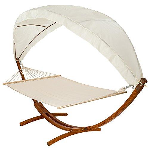TecTake® 400 CM XXL Hängematte mit Gestell Holz + Dach Gartenliege bis zu 2 Personen Sonnenliege Gartenmöbel