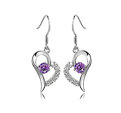 Women's 925 Silver Heart Amethyst Earrings With Eight Arrows and Hearts Diamonds Crystal