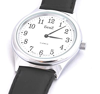 Click for Men's Wind up Watch 15 Jewel Easy to Read Silver Tone
