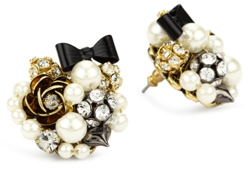 Betsey Johnson Simulated-Pearl and Black Bow Button Stud Earrings