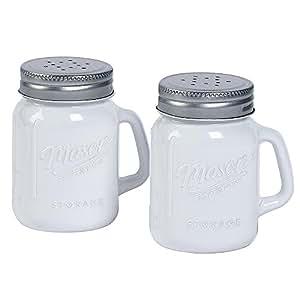 White Glass Mason Jar Salt And Pepper Shakers