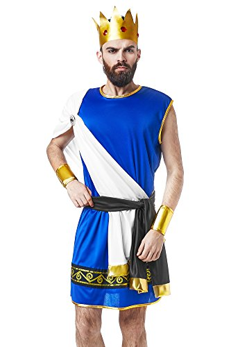 [Men's Olympian King Zeus Ancient Greek God Lord of Thunder Dress Up & Role Play Halloween Costume (One Size - Fits] (Grecian Sandals Costume)
