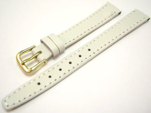 White Leather Watch Strap Band With A Stitched Edging And Nubuck Lining 12mm