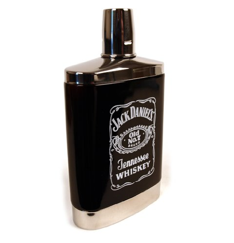 Jack Daniels 7oz Black Glass Hip Flask