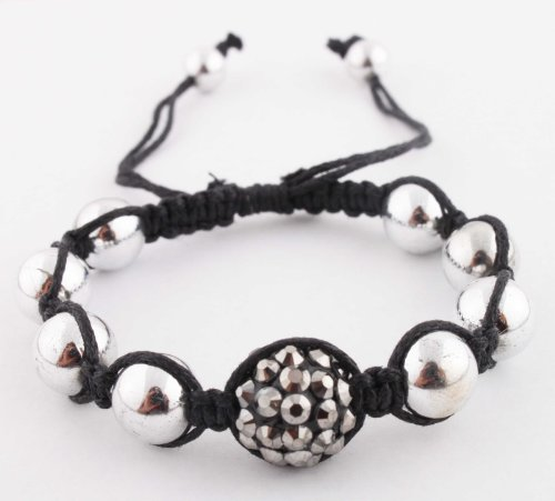 Silver with Black Disco Ball Adjustable Bracelet Macrame Shamballah