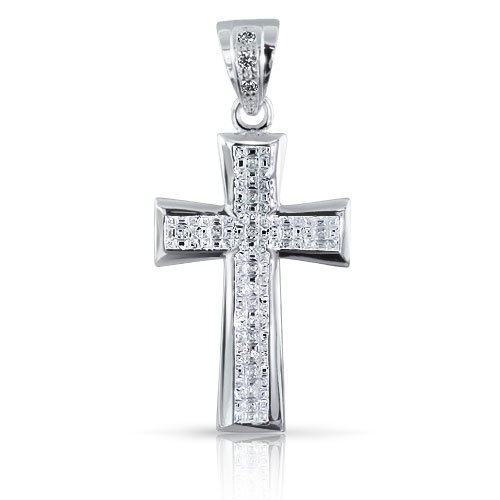 Bling Jewelry Men Sterling Silver Invisible Cut CZ Cross Pendant