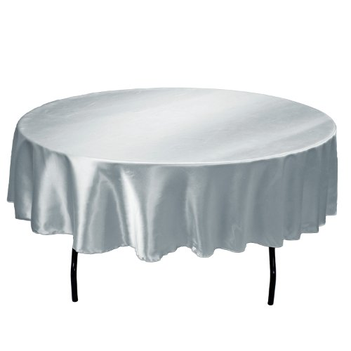 Linentablecloth 90 Inch Satin Tablecloth Round Silver Ebay
