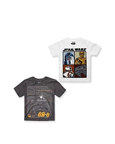 Star Wars Pack x 2 Camisetas Manga Corta Gris Oscuro / Blanco