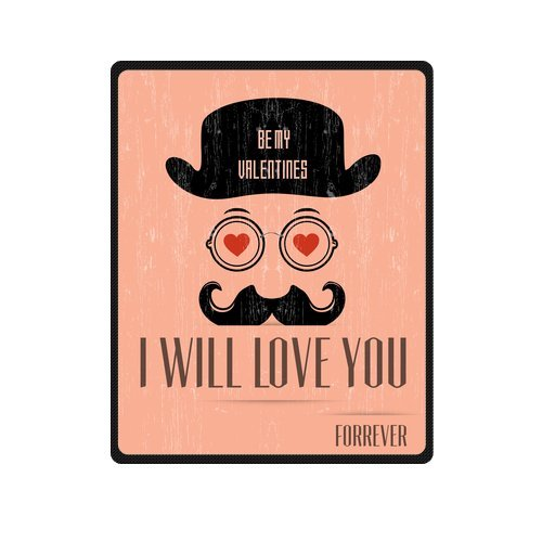 Personalized Fashion I Will Love You Forever With Mustache Picture Fleece Blanket 40 X 50 back-1075378