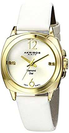 buy Akribos Xxiv Women'S Ak742Ygw Lady Diamond Analog Display Swiss Quartz White Watch