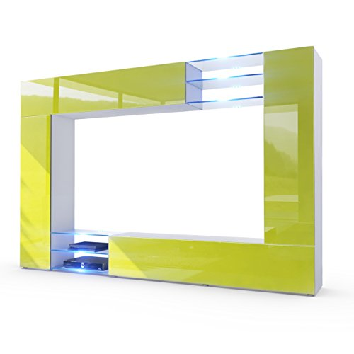 Wohnwand-Anbauwand-Mirage-Korpus-in-Wei-matt-Fronten-in-Limette-Hochglanz-inkl-LED-Beleuchtung