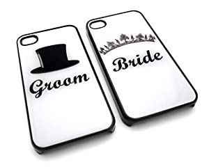 Bride and Groom Set of 2 Friendship Forever Snap-On Covers w/ Hard Carrying Cases for iPhone 4/4S (Black)