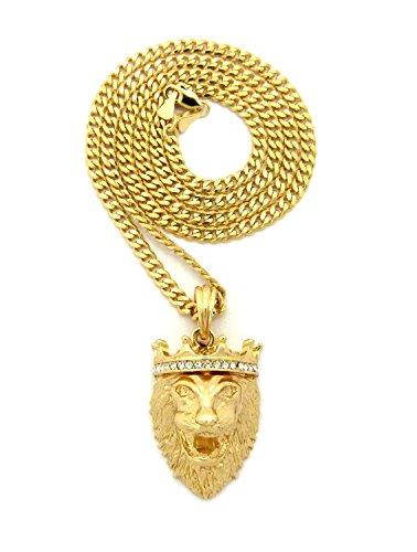 Crown King, a perno, con ciondolo a forma di leone, 3 mm, concava, 61 cm, collana bicolore in oro