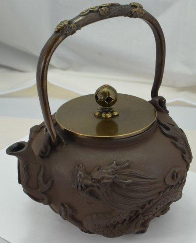Cast Iron Tea Pot (Teapot) / Tea Kettle (Teakettle) - Dragon & Phoenix, Light Brown