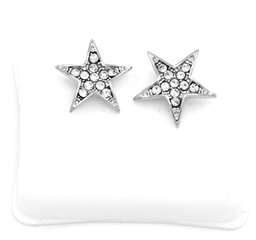 Mens Platinum Plated Cz Micro Pave Iced Out Hip Hop Star Stud Earrings Bullet Backs