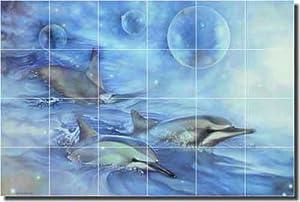 Dolphins of the dreamtime glass wall tile mural backsplash for Dolphin tile mural