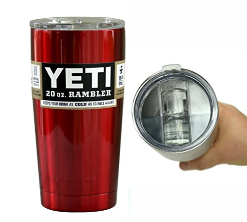 Yeti Coolers 20 oz Rambler Tumbler Cup with Extra Spill Proof Lid - Keeps your drink cold or hot for hours (Candy Apple Red)
