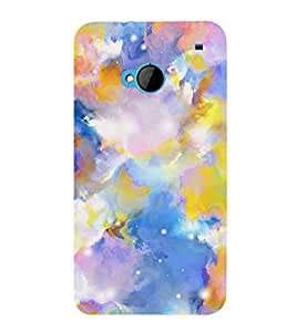 MODERN ART BLUE AND YELLOW PATTERN 3D Hard Polycarbonate Designer Back Case Cover for HTC One M7 :: HTC M7