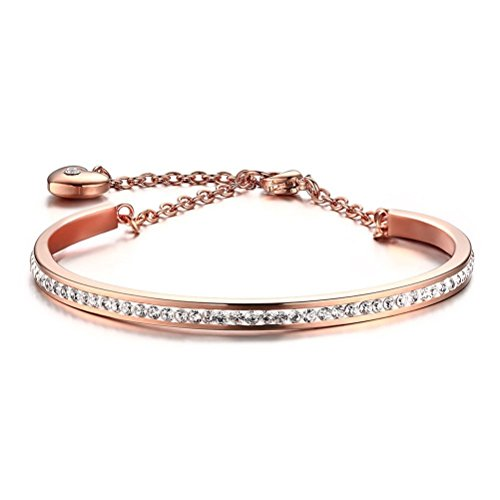 Girls Stainless Steel CZ Crystal Heart Charm Bangle Bracelet,Rose Gold Link Chain,4mm Width (Stainless Steel Baby Bracelet compare prices)