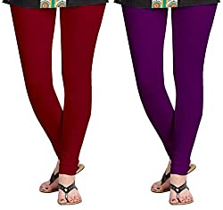 Aannie Women's Cotton Slim Fit Leggings Combo Pack of 2(XX-Large,Brownish Red,Imperial Purple)