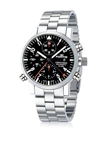 Fortis Mens 627.22.11 M Spacematic Chronograph Alarm Silver/Black Stainless Steel Watch