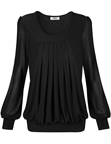 Tops T-shirt,Timeson Women Comfy Day to Work Long Sleeve Tops T-shirt XXX-Large Black