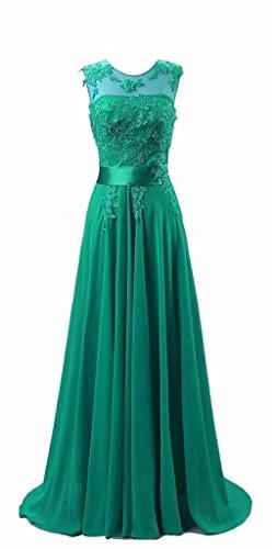 KMFORMALS Women's Long Lace Prom Evening Dresses Size 6 Emerald