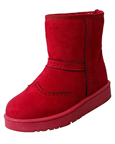 Minetom Donna Inverno Cotone Stivali Caldo Stivali Da Neve Antiscivolo Scarpe Piatta Stivali Brogue Stivali Rosso EU 36