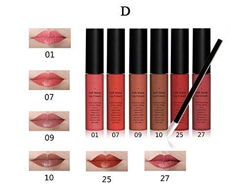 Tmalltide Makeup Lip Gloss liquid lipstick set of 6 + 12 Pcs Lip Brush Matte Lip Gloss Lipstick Organizer Makeup Kits