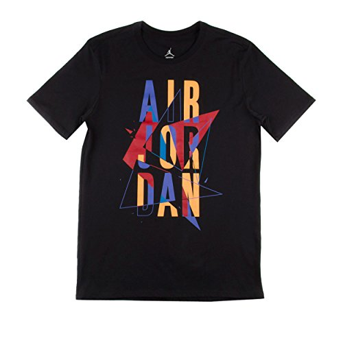 [706840-011] AIR JORDAN AJ VII STACKED TEE APPAREL T SHIRT AIR JORDANBLACK/BRIGHT CONCORD/LASER ORANGE (Aj Laser compare prices)