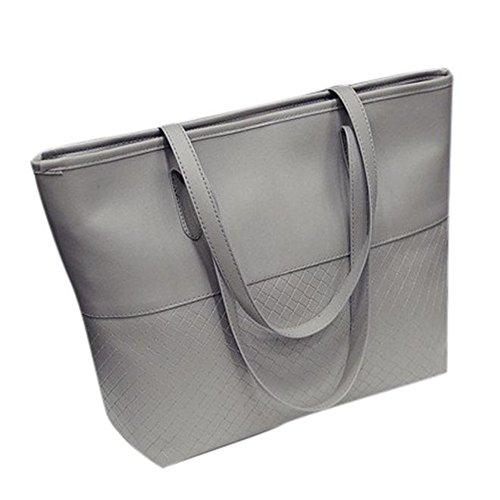 Longra Donne della borsa spalla del Tote Large Messenger Bag (Grigio)