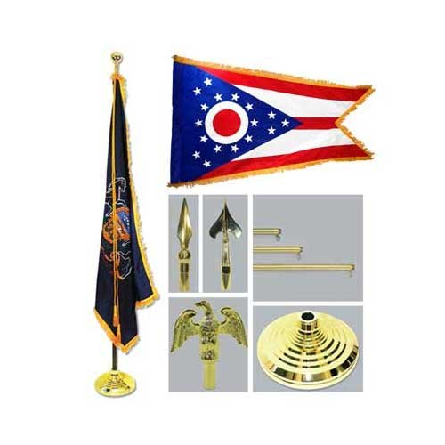 Ohio 4Ft X 6Ft Flag Telescoping Flagpole Base And Tassel