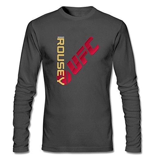 WanDi Men's UFC Ronda Rousey Champion Jersey Long Sleeve T-shirt dark grey S