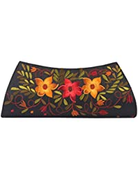 Soulful Threads Hand Clutch In Cotton Silk Fabric With Elegant Embroidery - B01MQLYVMD