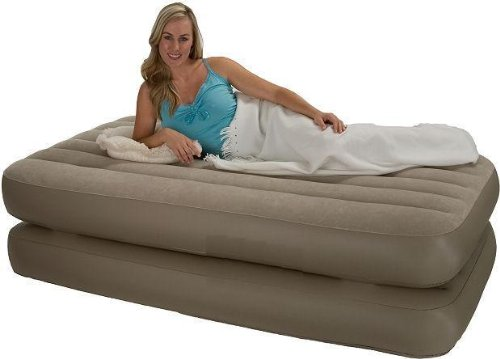 Intex Twin Raised Airbed With Built-In Electric 110V Pump And Tethered Remote Control Air Bed 66945E