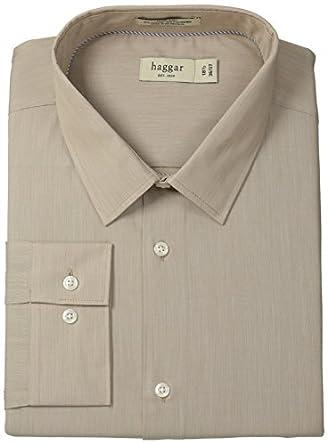 Haggar Men's Mechanical Stretch Poplin Solid Long Sleeve Fitted Point Collar Dress Shirt, Tan, 14.5x32/33