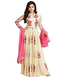 OMSAI FASHION Women's Cream Georgette Embroidery semi stitched Free Size Salwar Suit Dress Material (Women's Honey Cream Indian Clothing )