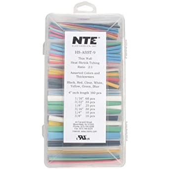 NTE Heat Shrink 2:1 Assorted Colors/Sizes 4 160 Pcs