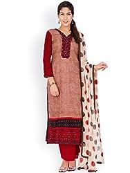 EthnicQueen Brown Colour Super Fine Cotton Embroidered Dress Material.