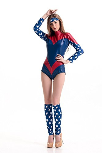 Adult Sexy Captain America Superman Supergirl Superwoman Tight Teddy Costume