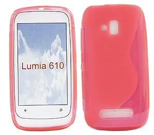 iTALKonline Nokia Lumia 610 Slim Grip S-Line TPU Gel Case Soft Skin Cover - Pink