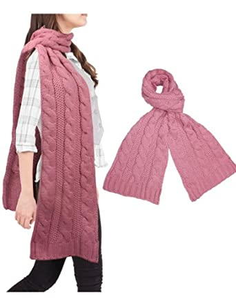 Classic Cable Stitch Acrylic Knit Thick Long Scarf - Pink